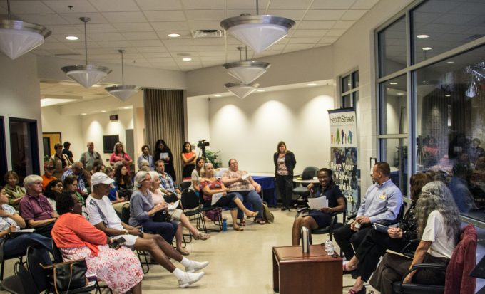Audience and panelists at a Town hall at Healthstreet