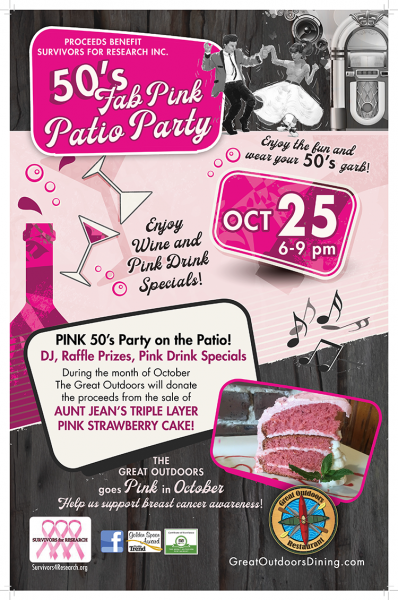 October 25th: 50's Fab Pink Patio Party at The Great Outdoors Restaurant