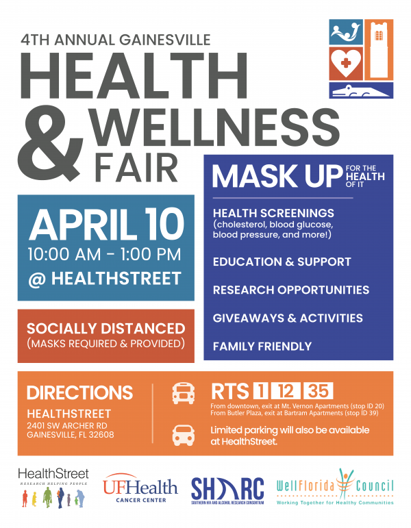 4th Annual Health & Wellness Fair Mask Up For the Health of It April 10th 10 Am to 1 PM at HealthStreet location