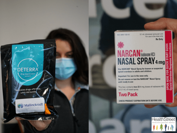 CHW holding a bag of deterra and narcan nasal spray