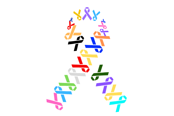 A large awareness ribbon with smaller ribbons of varying colors inside.