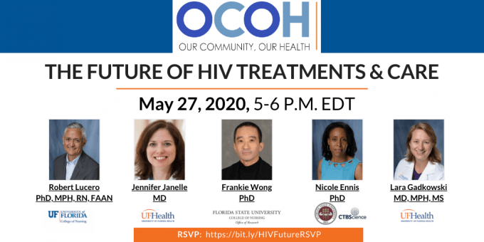 HIV ocoh flyer with pictures of panelists and the RSVP link